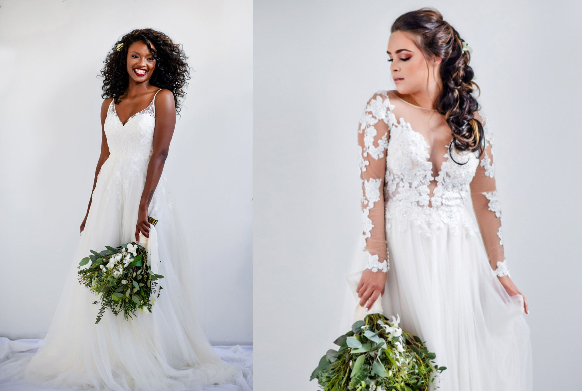 curvy brides in off the rack wedding dresses from here and now bridal in virginia beach