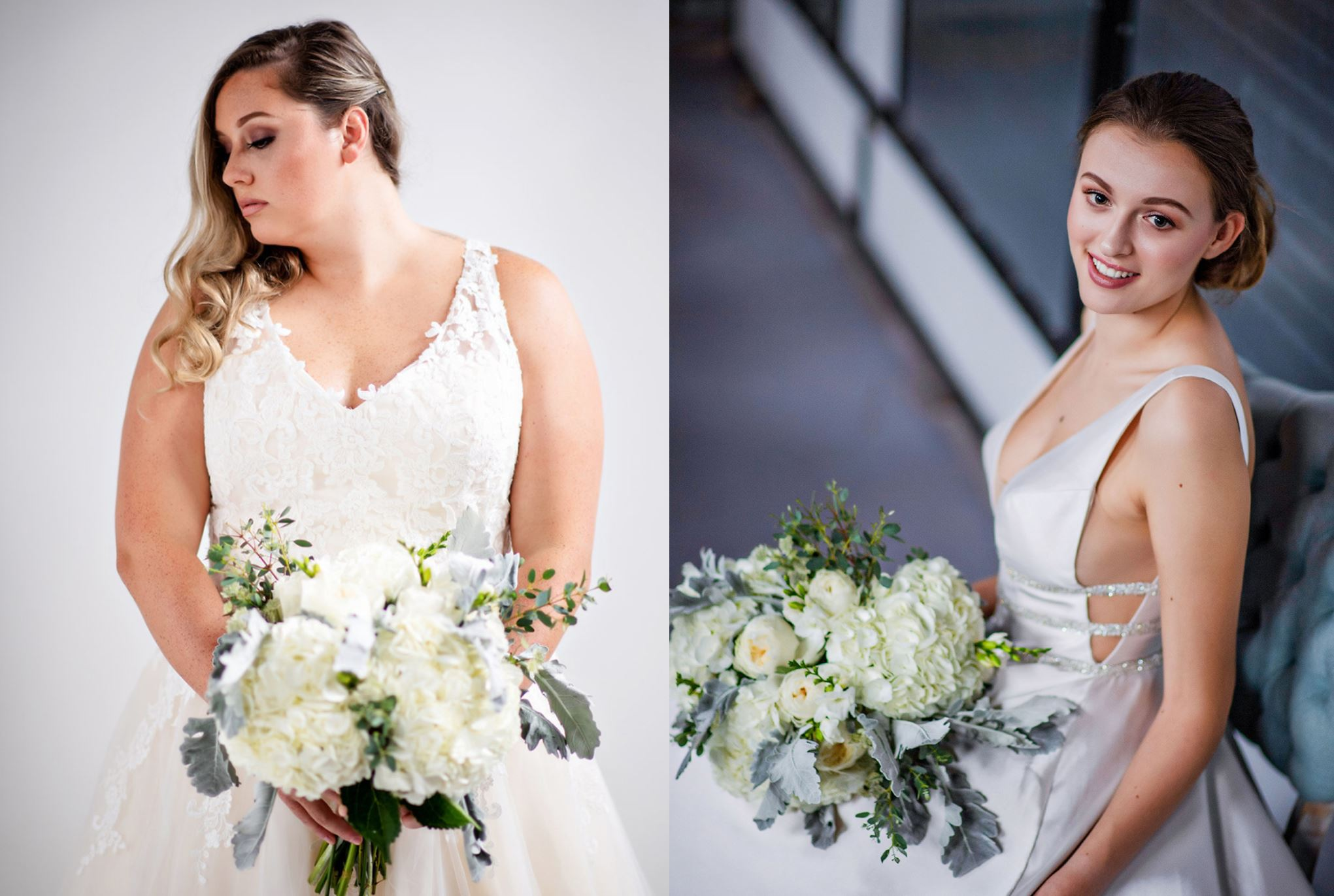 brides with bouquets in off the rack wedding dresses from here and now bridal in virginia beach