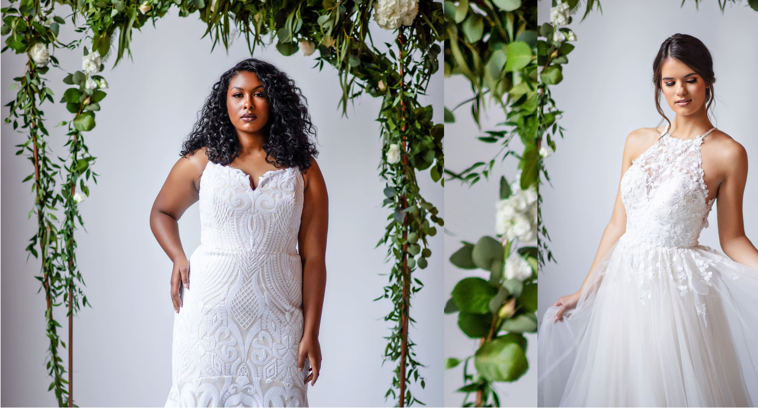 brides in gorgeous, off the rack wedding dresses from here and now bridal in virginia beach